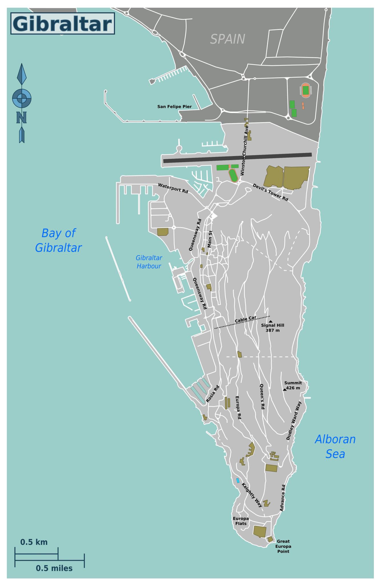 Large road map of Gibraltar Gibraltar Europe Mapsland Maps