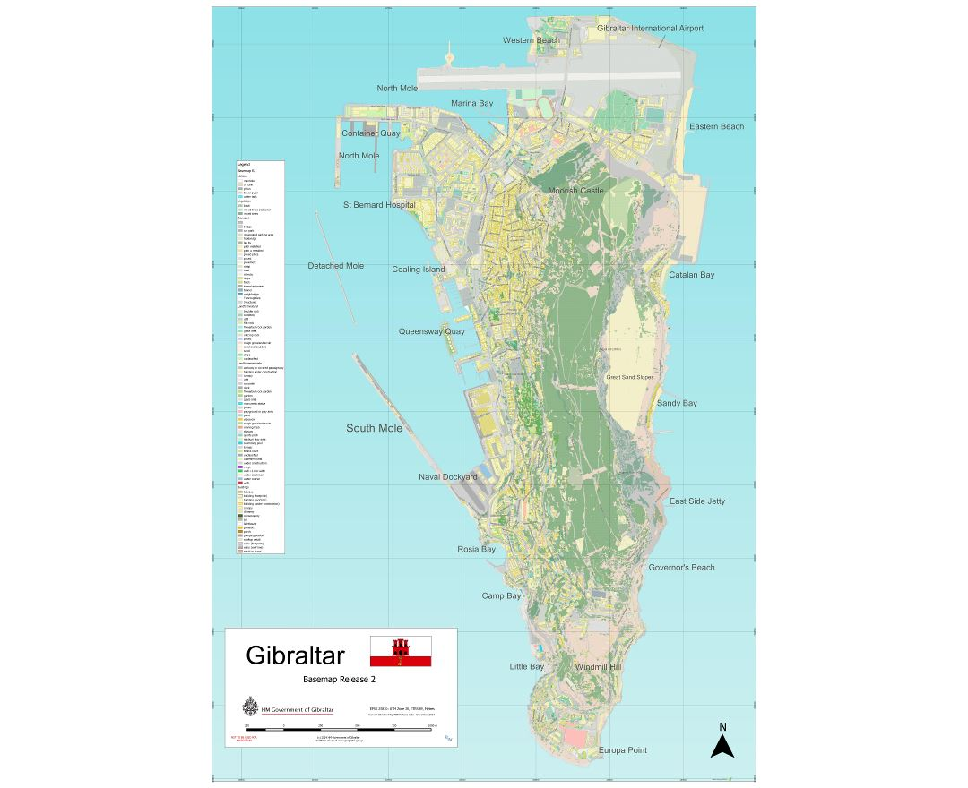Large scale full map of Gibraltar