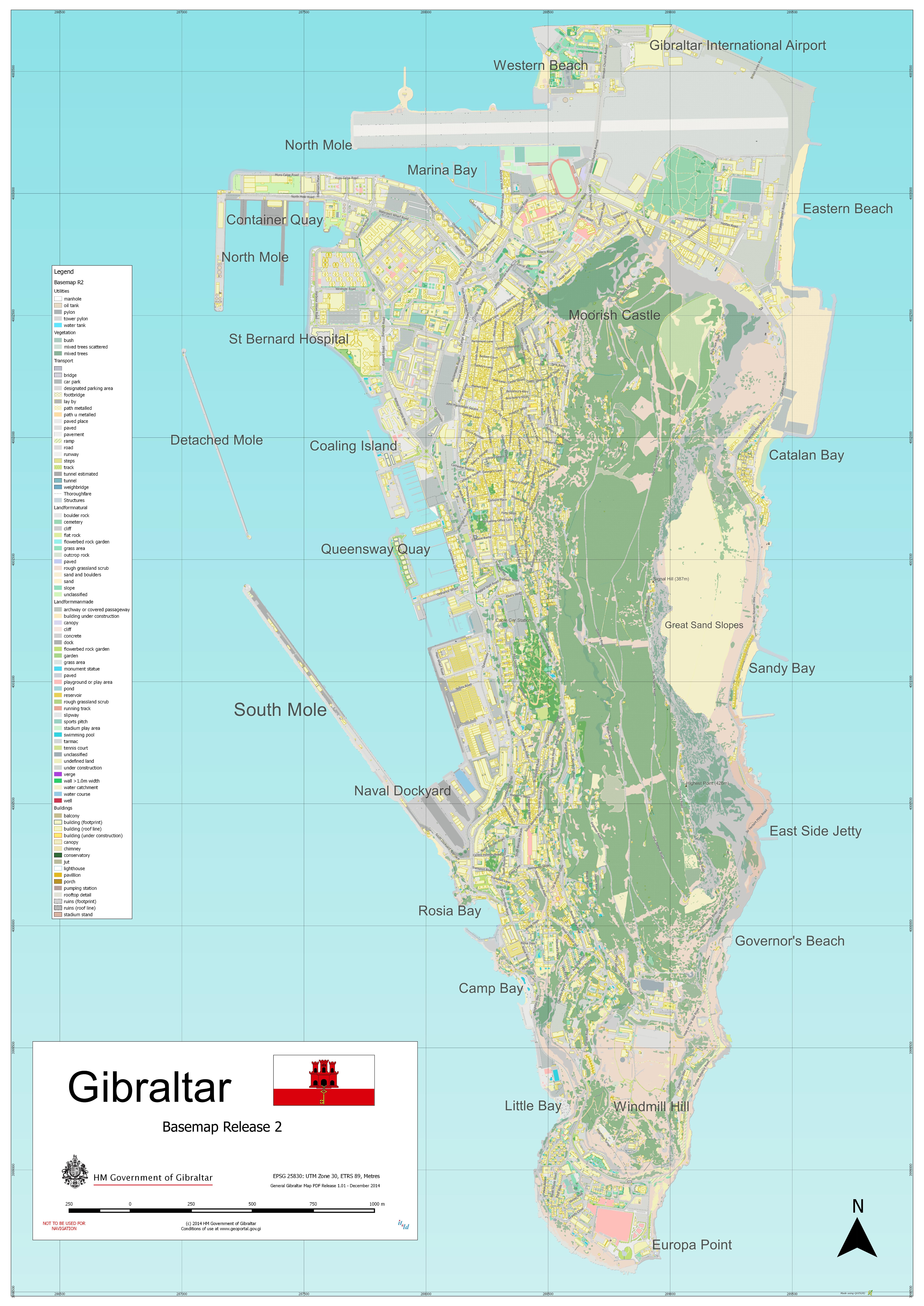 Large scale full map of Gibraltar Gibraltar Europe Mapsland