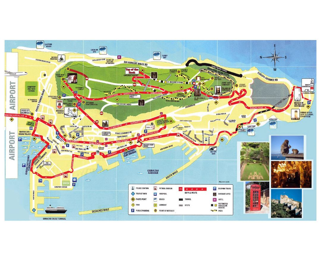 Large tourist map of Gibraltar