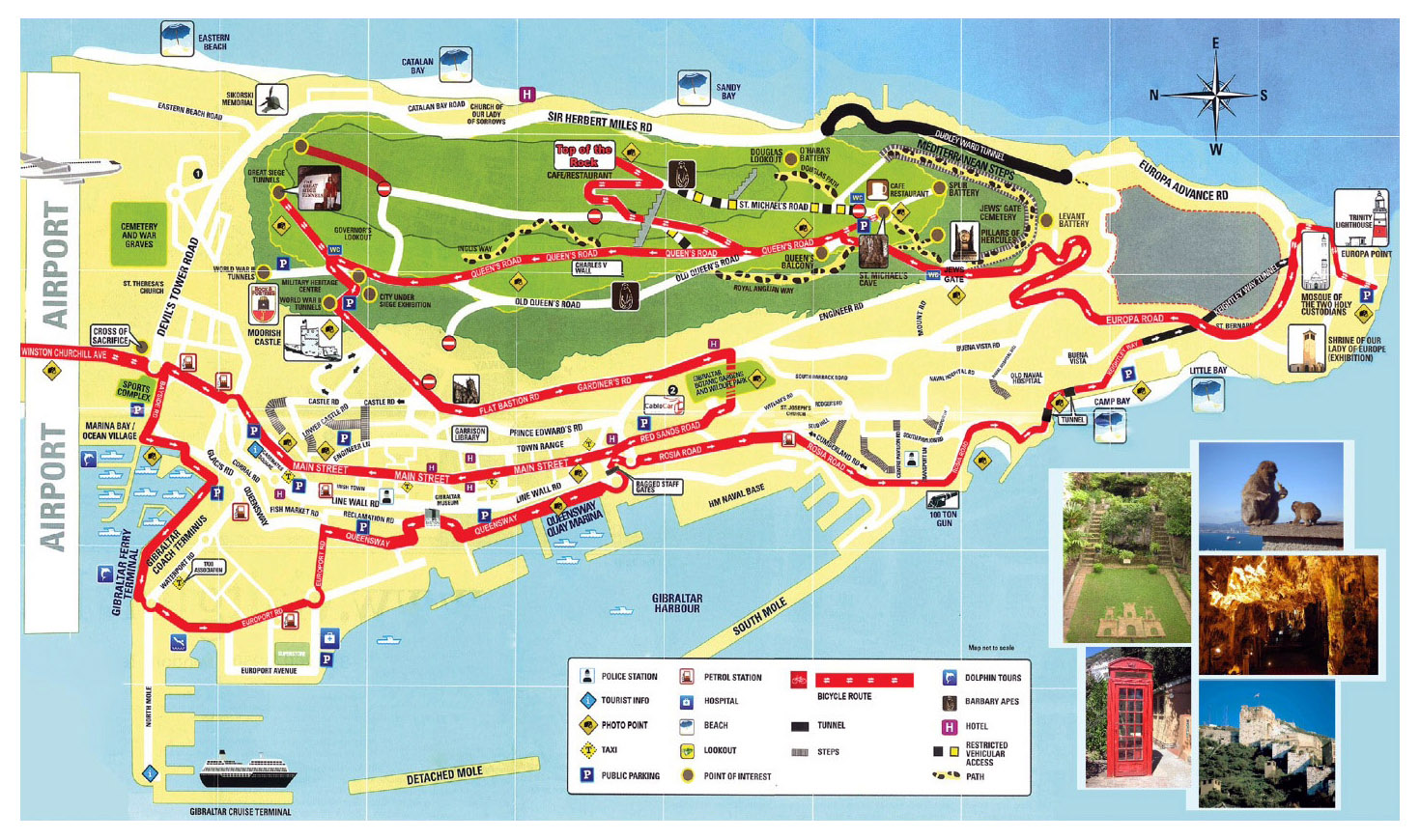 Large tourist map of Gibraltar Gibraltar Europe Mapsland