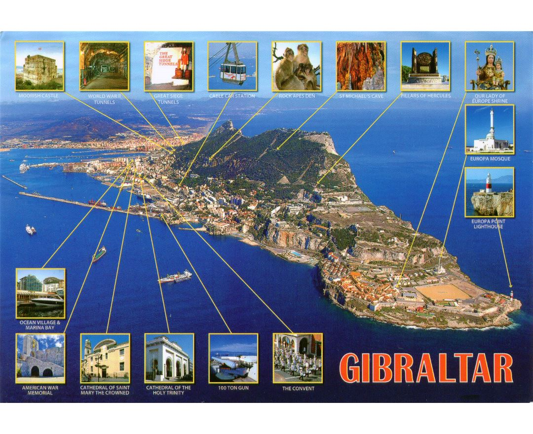 Large tourist panoramic map of Gibraltar