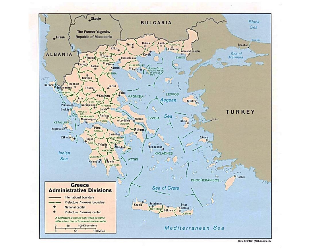 Detailed administrative divisions map of Greece - 1996