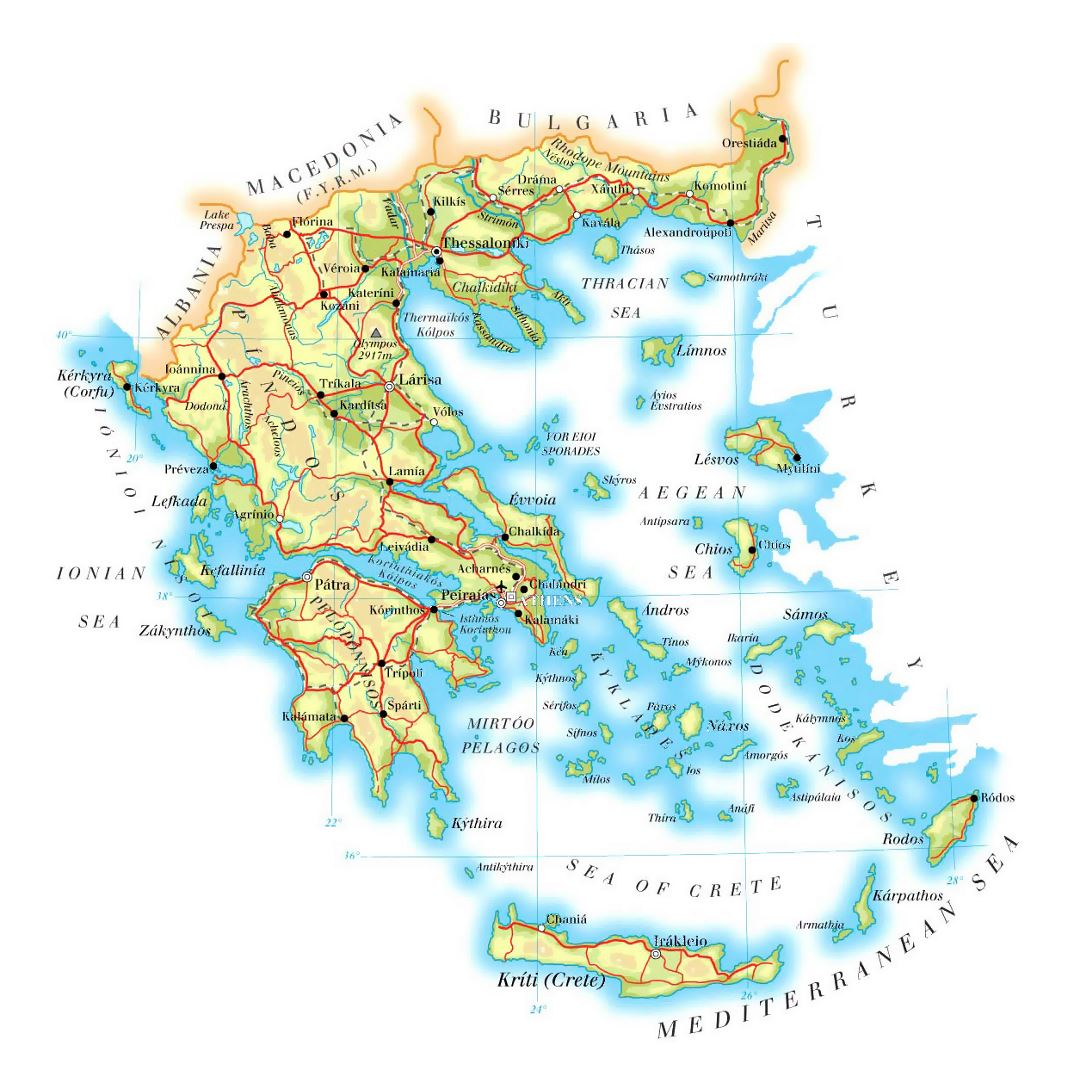 Detailed elevation map of Greece with roads, cities and airports