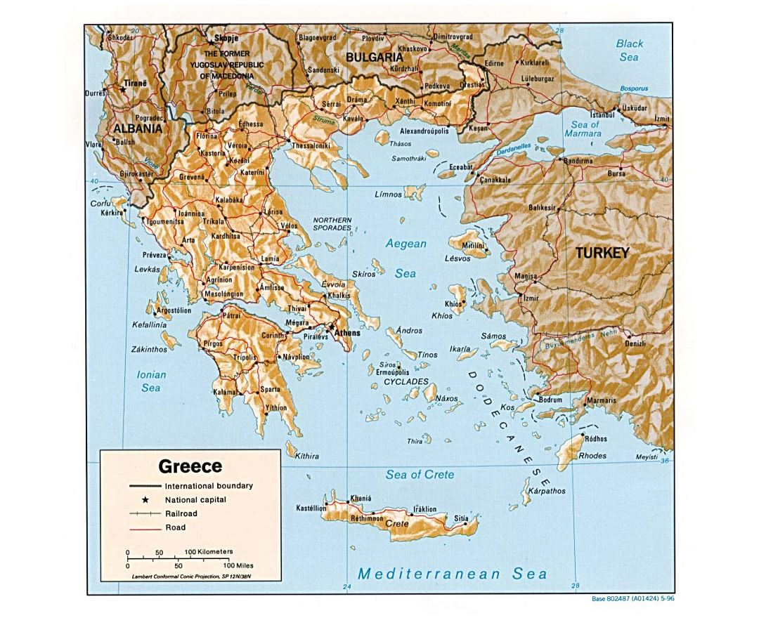 Detailed political map of Greece with relief, roads and major cities - 1996