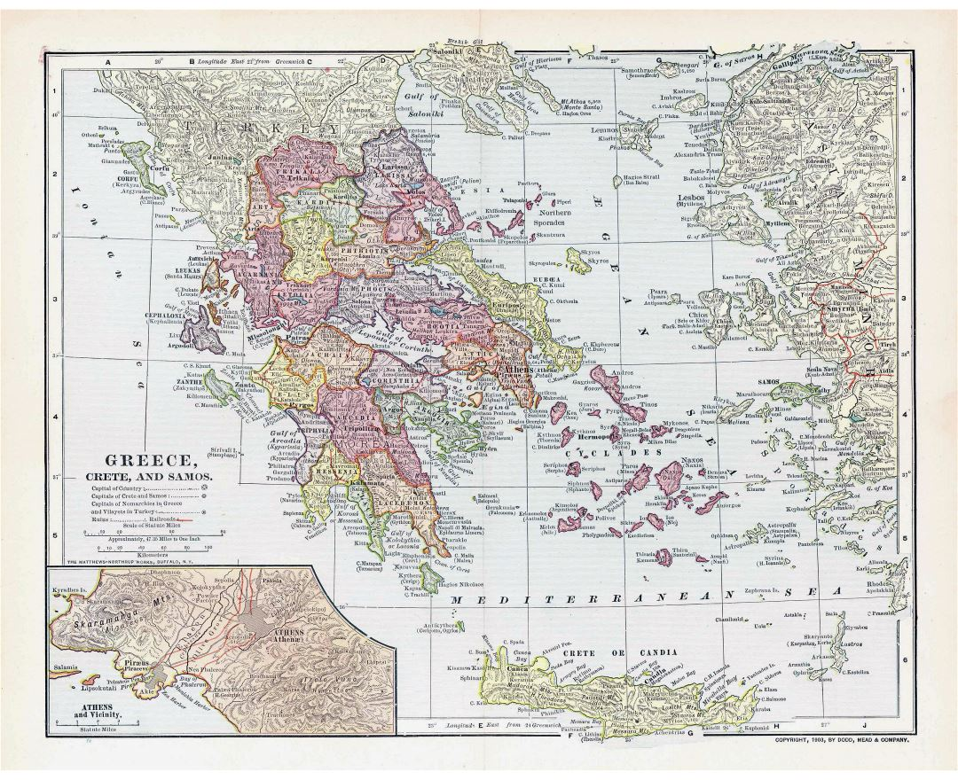 Maps of greece detailed map of greece in english tourist map large detailed old political and administrative map of greece 1903 gumiabroncs Gallery