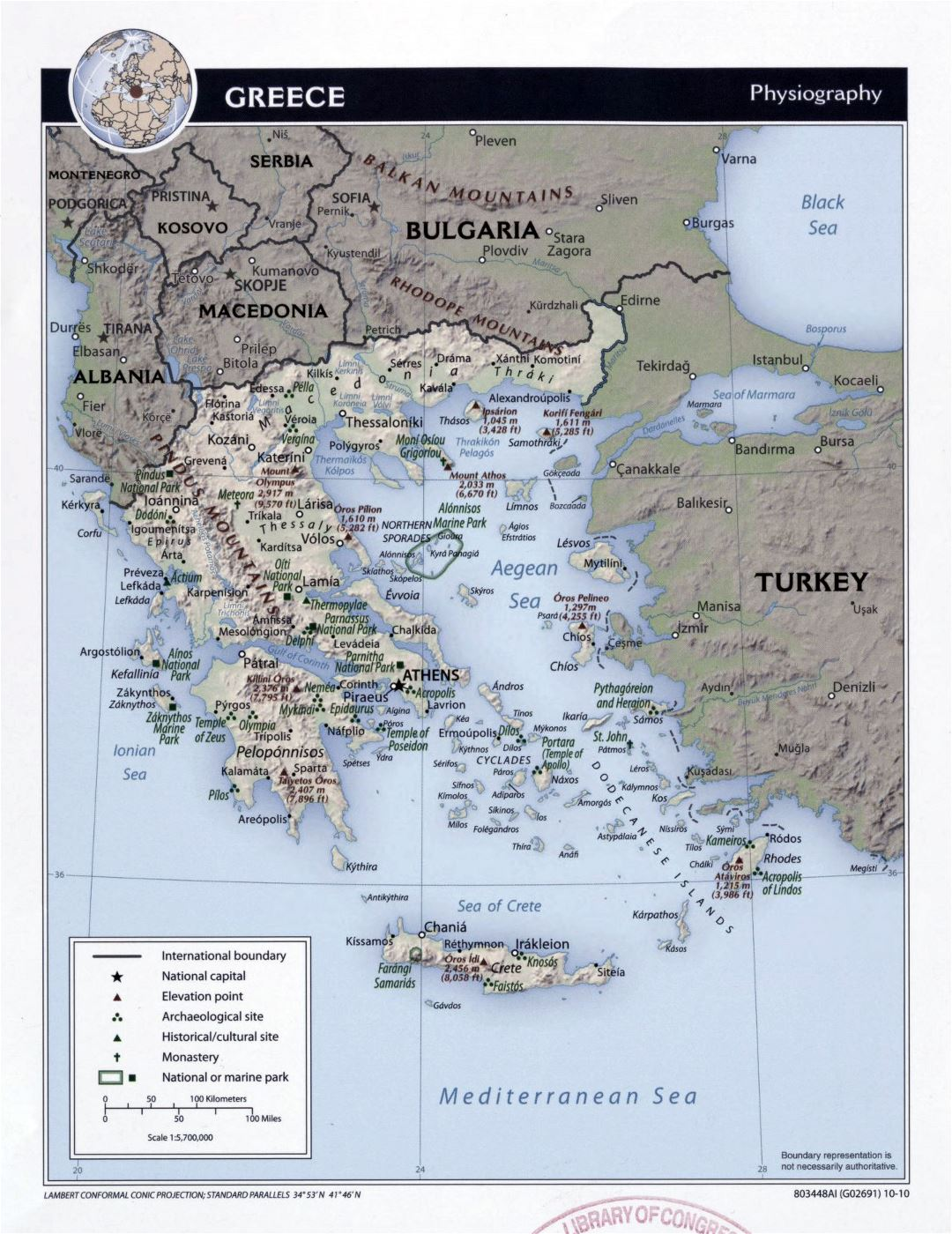 Large detailed physiography map of Greece - 2010