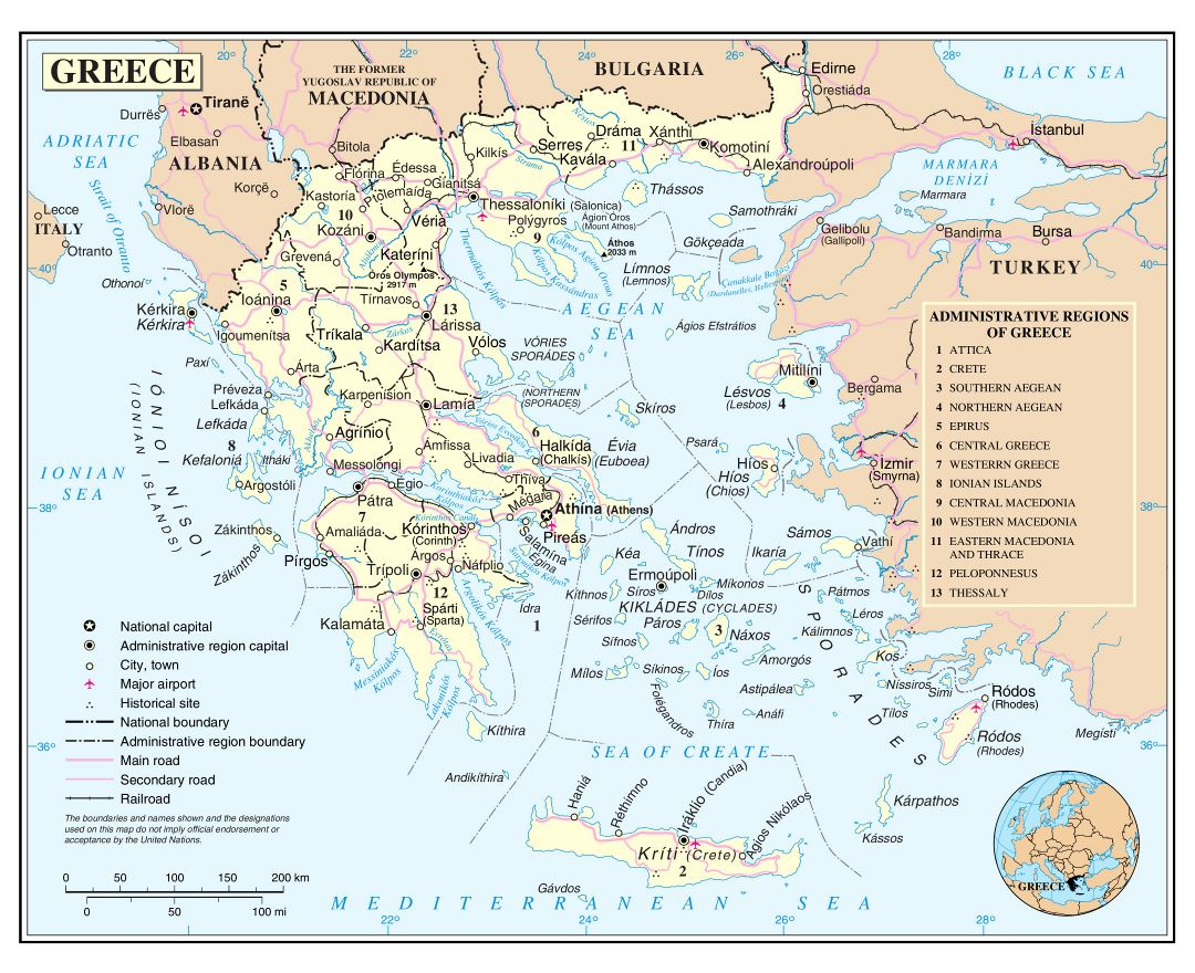 Maps of Greece Detailed map of Greece in English Tourist map