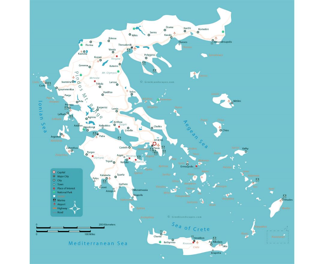 Large map of Greece with roads, major cities, seaports and airports
