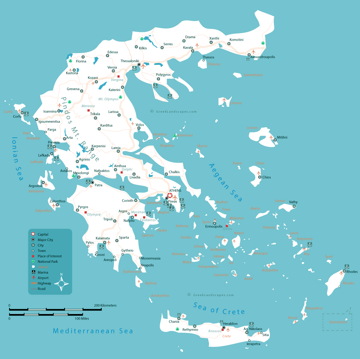Picture of: Large Map Of Greece With Roads Major Cities Seaports And Airports Greece Europe Mapsland Maps Of The World