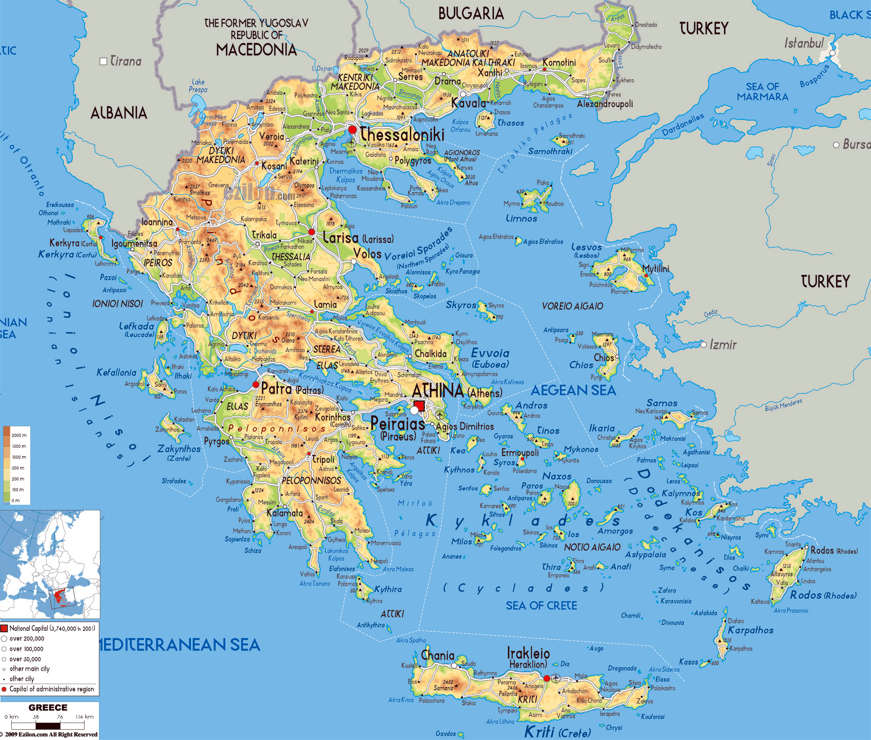Large physical map of greece with roads cities and airports large physical map of greece with roads cities and airports gumiabroncs Image collections