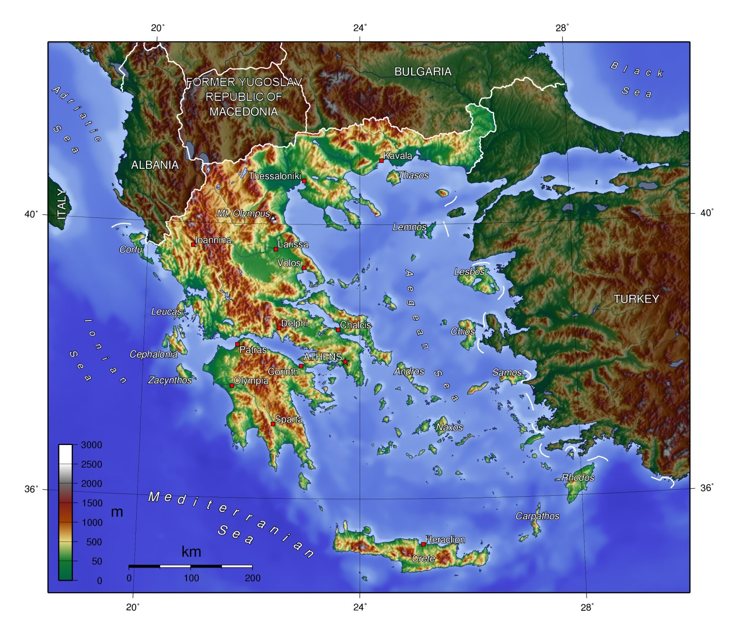 Large physical map of greece greece europe mapsland maps of large physical map of greece gumiabroncs Images