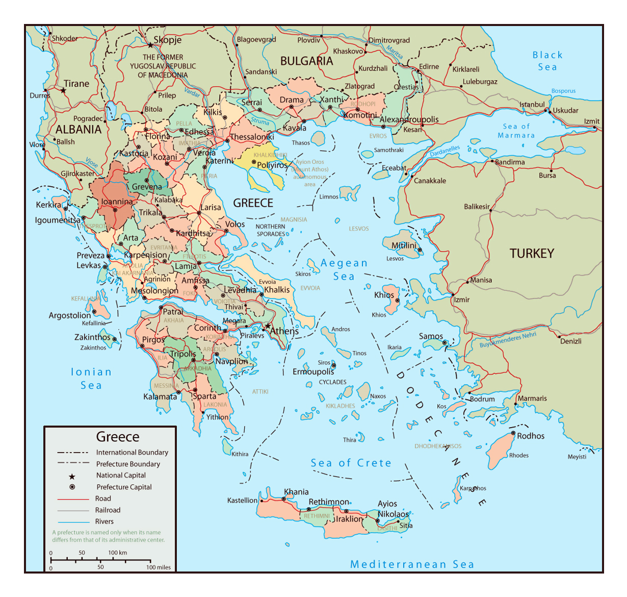 Large Political And Administrative Map Of Greece With Roads And - Political map of greece