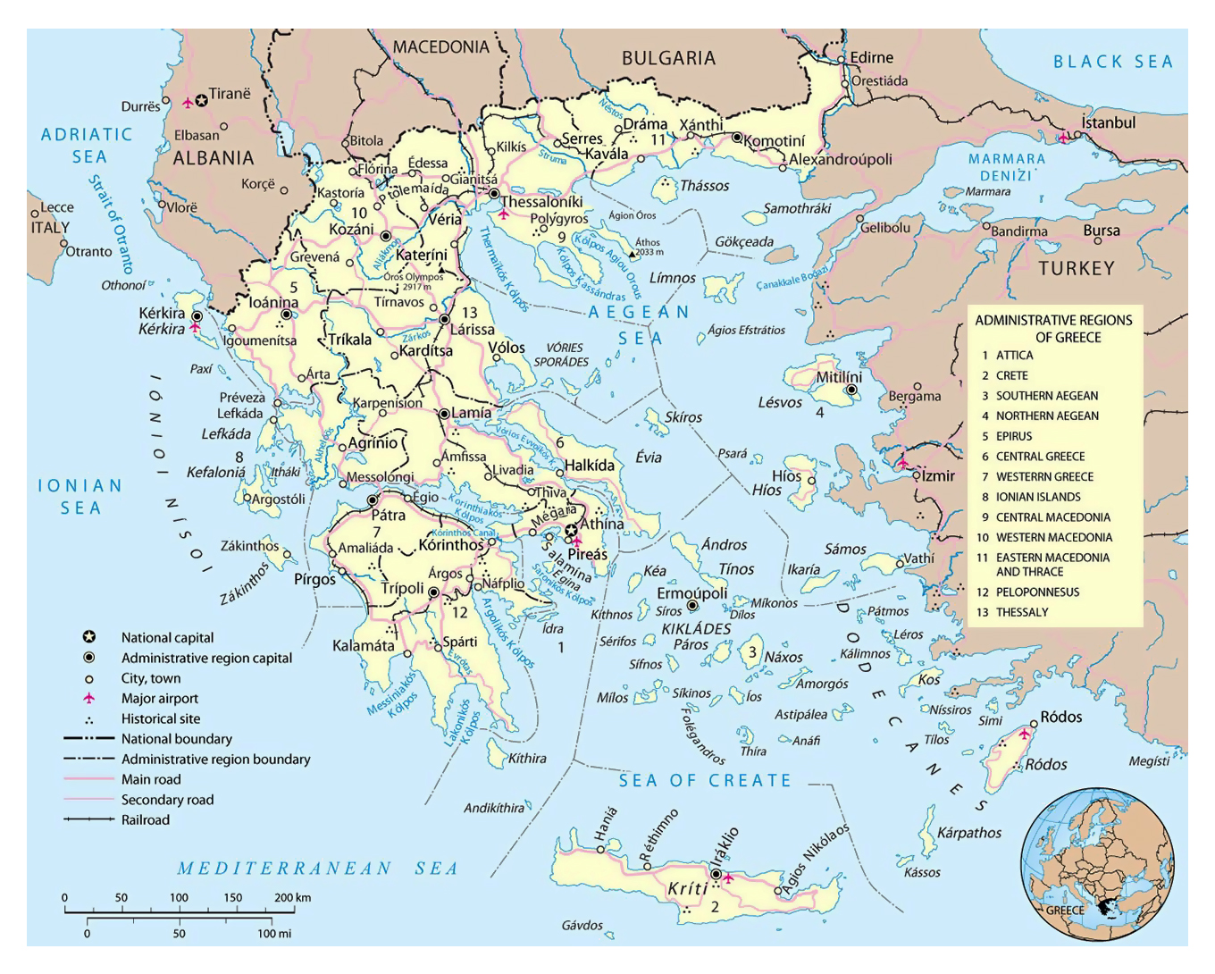 Large political and administrative map of Greece with roads cities