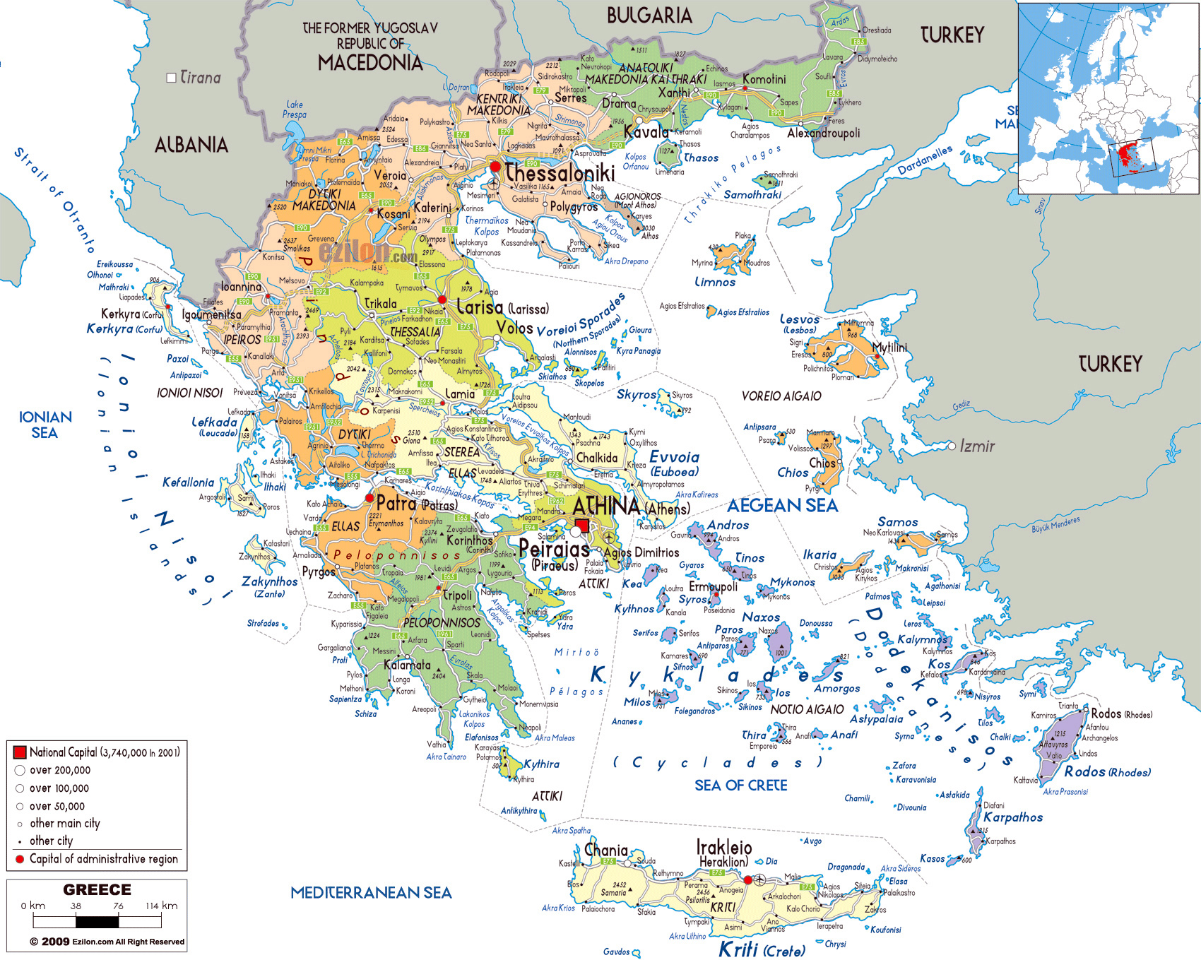Large political and administrative map of greece with roads cities large political and administrative map of greece with roads cities and airports gumiabroncs Images