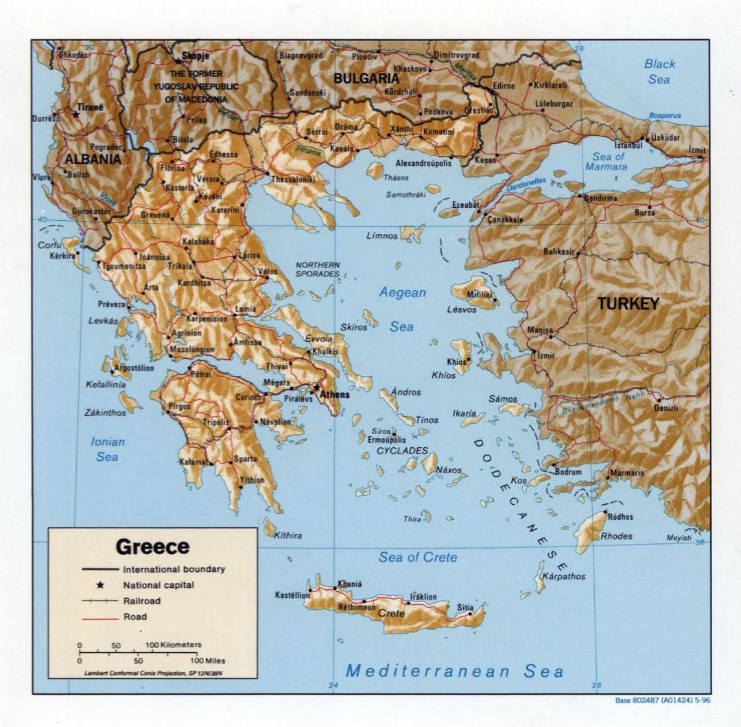 Large political map of Greece with relief, roads and major cities - 1996