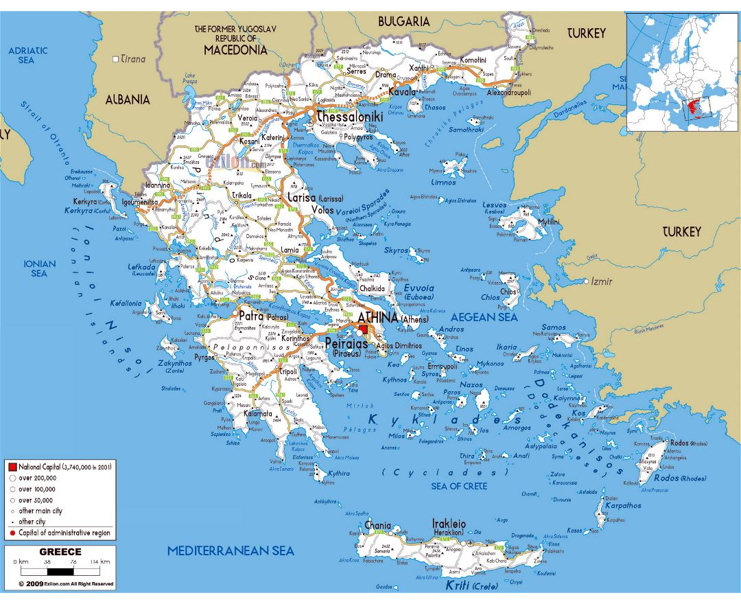Large road map of Greece with cities and airports