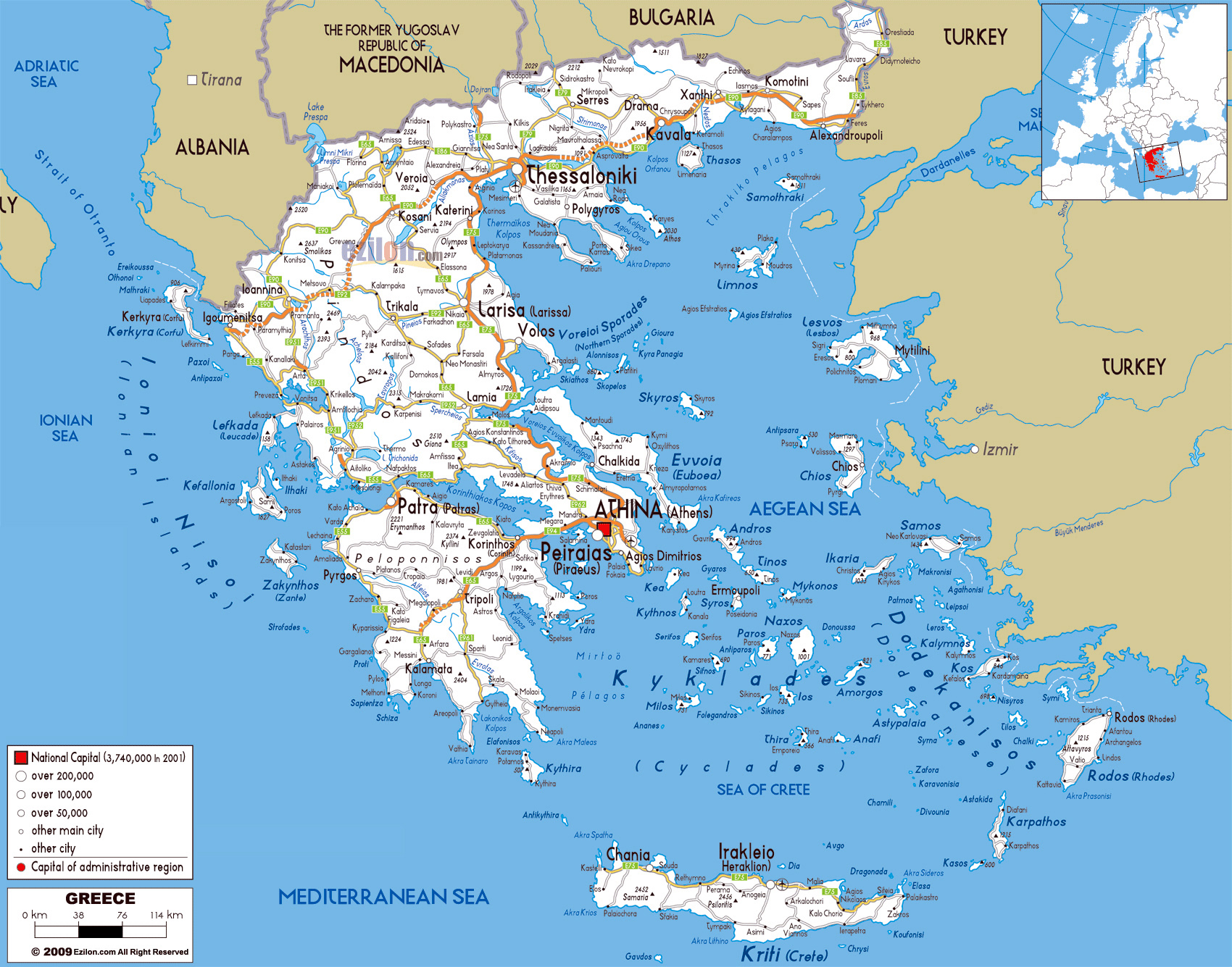 Greece Map Europe.Large Road Map Of Greece With Cities And Airports Greece