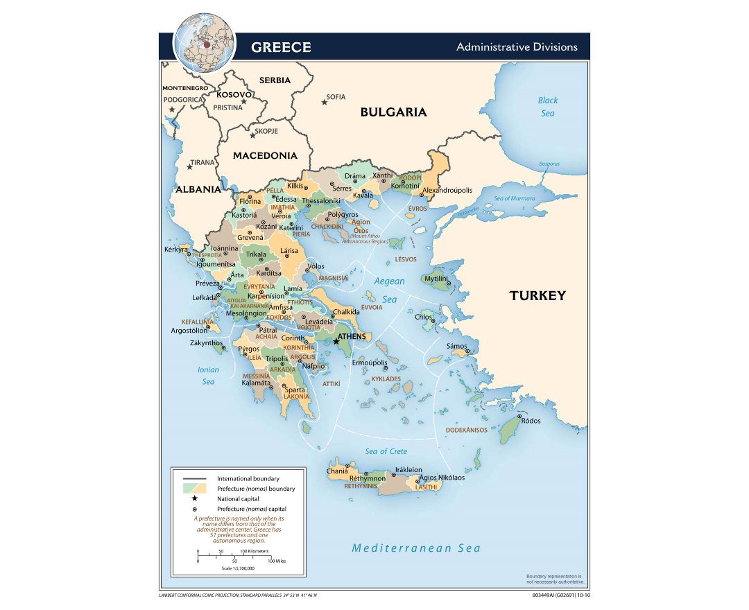 Large scale administrative divisions map of Greece - 2010
