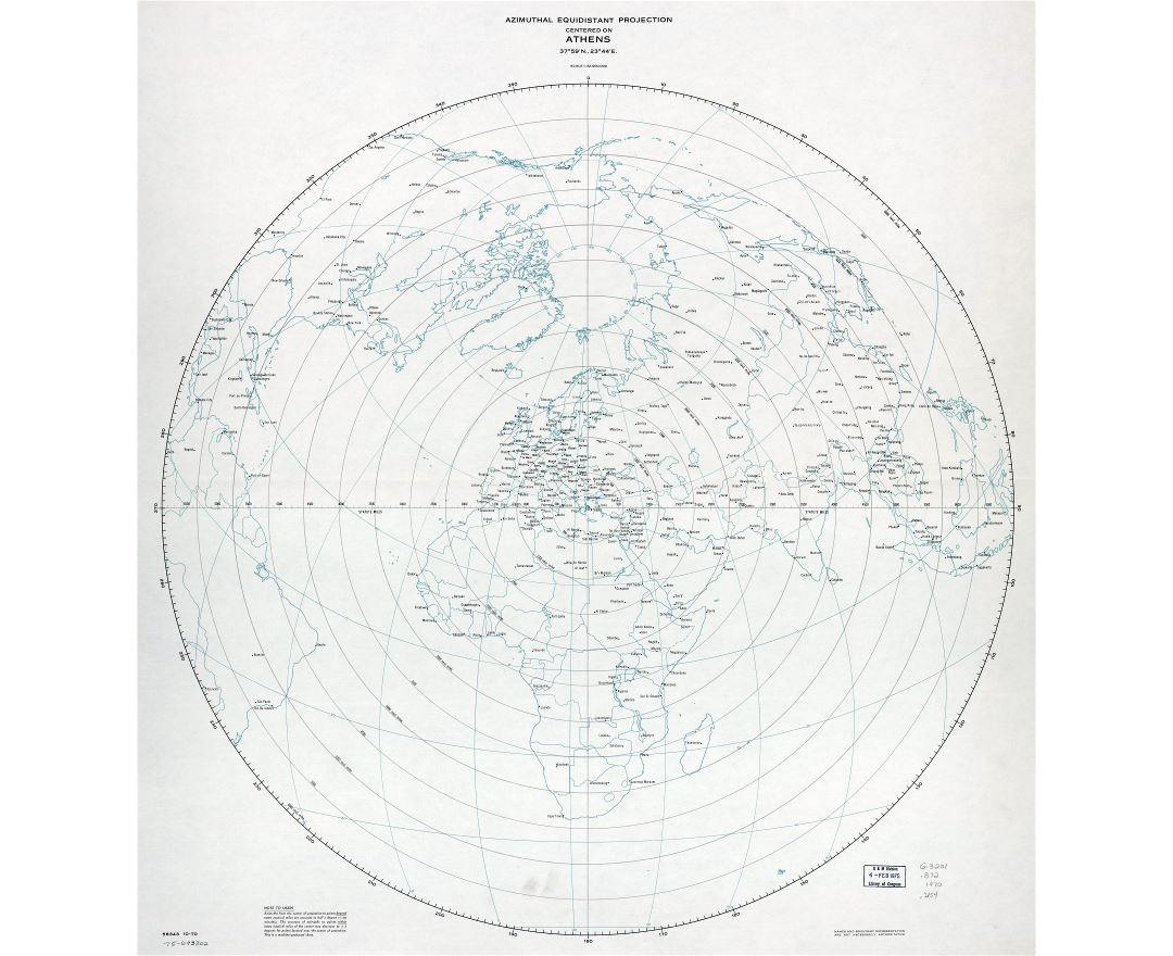 Large scale detail azimuthal equidistant projection map centered on Athens - 1970