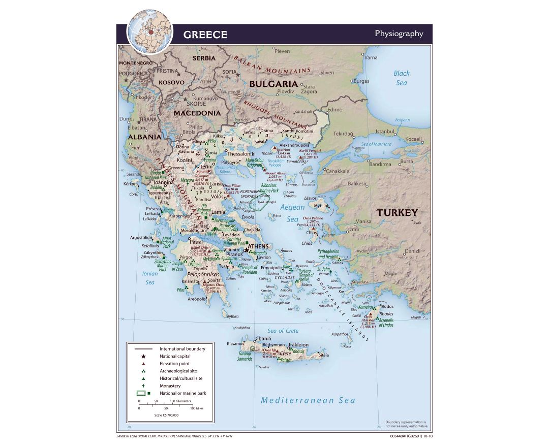 Large scale physiography map of Greece - 2010