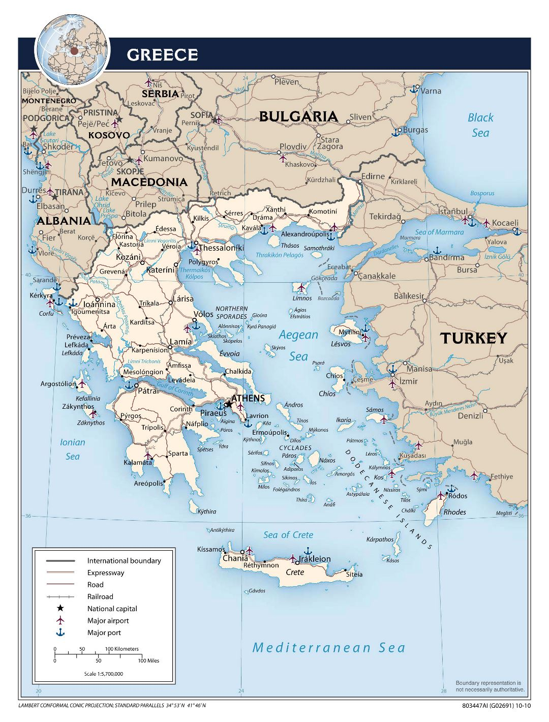 Large scale political map of Greece with roads, major cities, airports and seaports - 2010