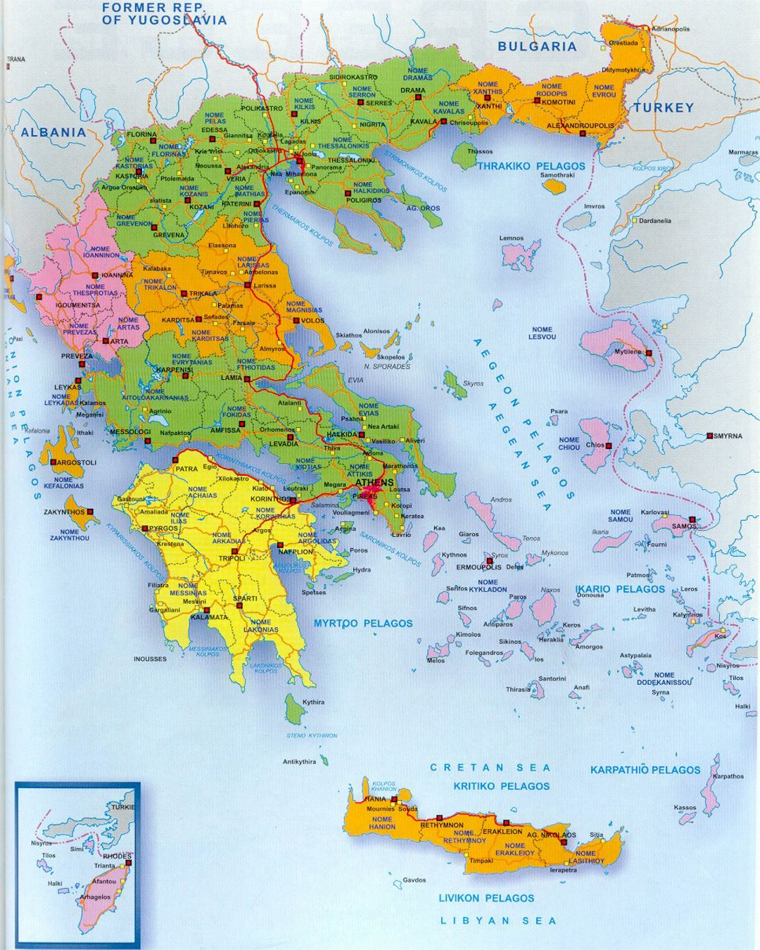 Political And Administrative Map Of Greece Greece Europe - Political map of greece