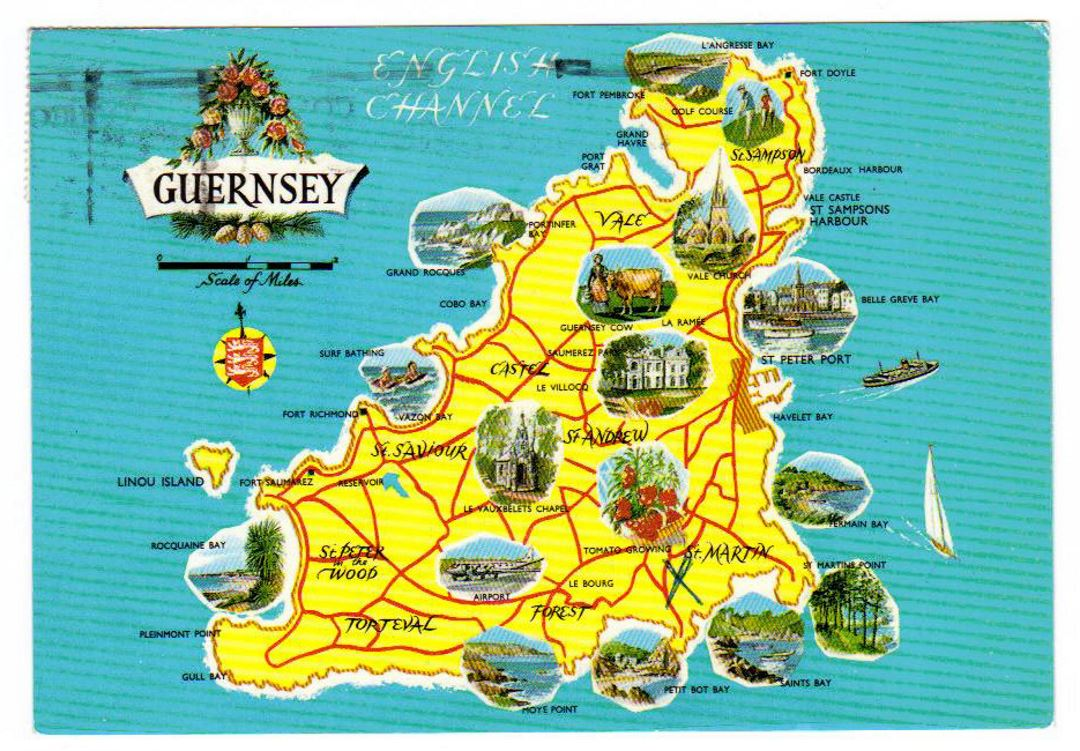 Detailed tourist illustrated map of Guernsey