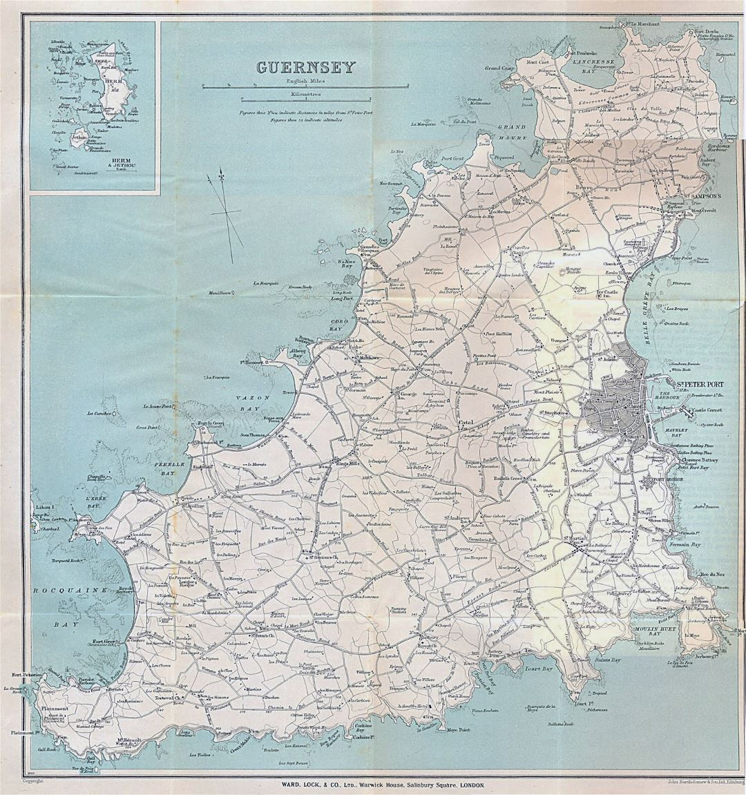 Large detailed old map of Guernsey with all roads and cities - 1930