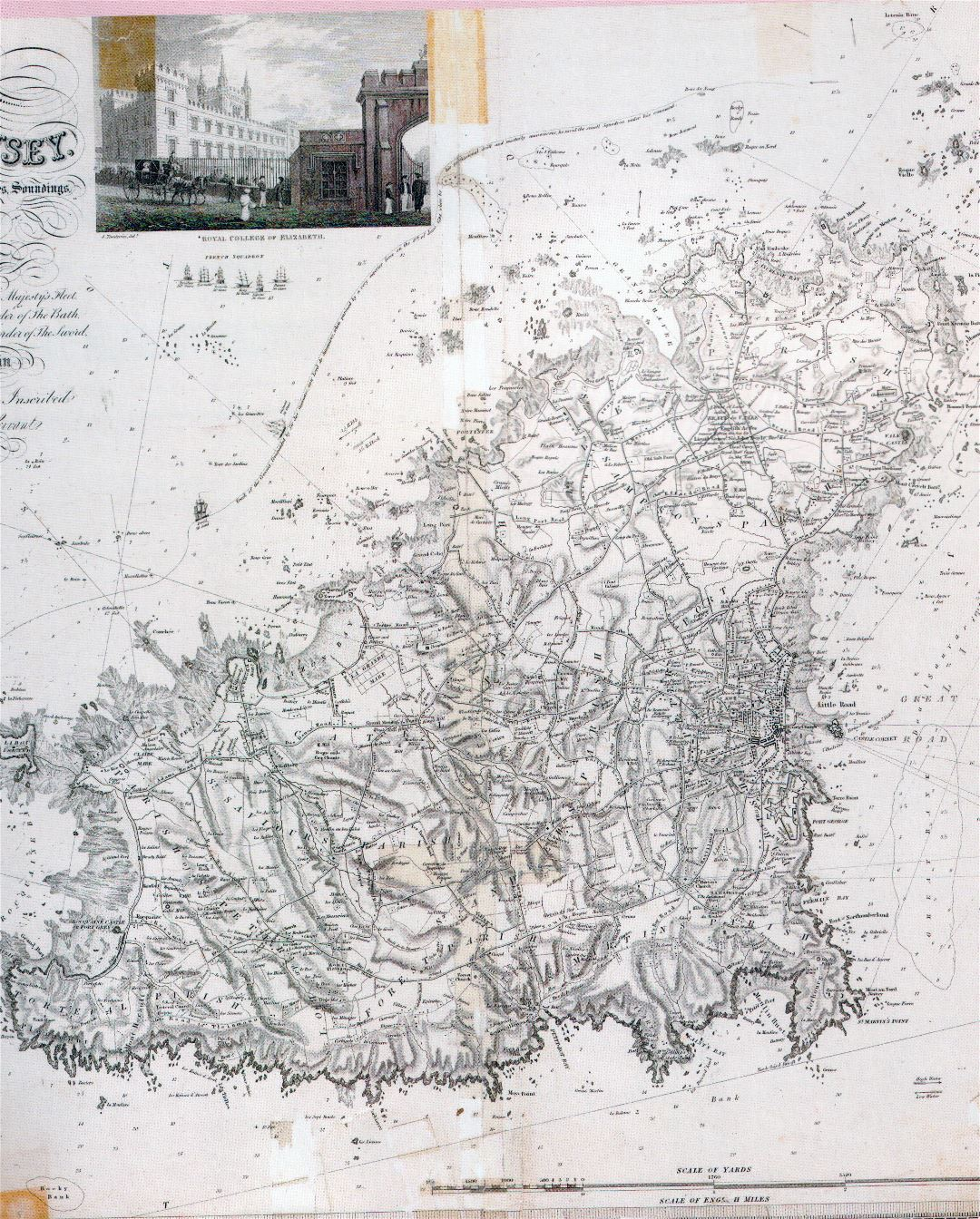 Large detailed old map of Guernsey with roads, cities and relief - 1835