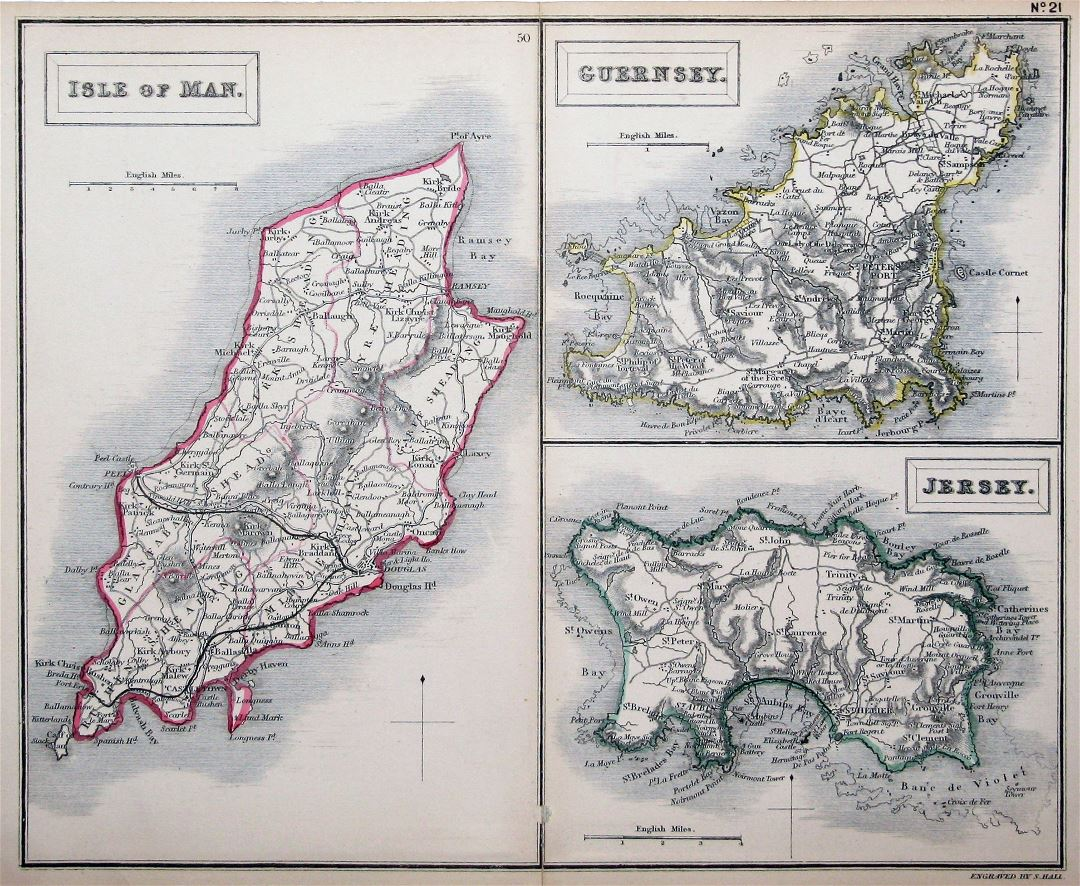 Large detailed old map of Isle of Man, Guernsey and Jersey