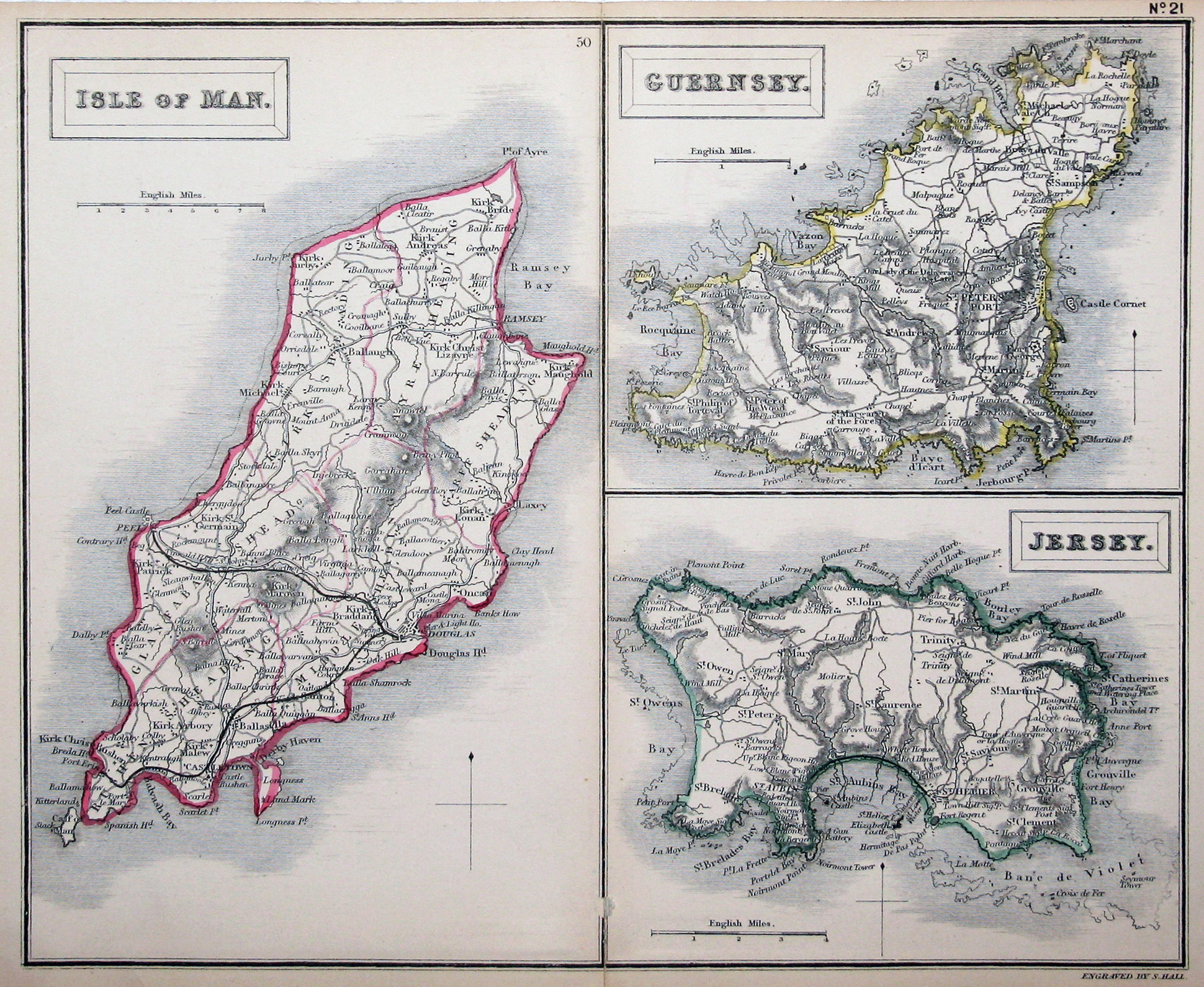 Large detailed old map of Isle of Man Guernsey and Jersey
