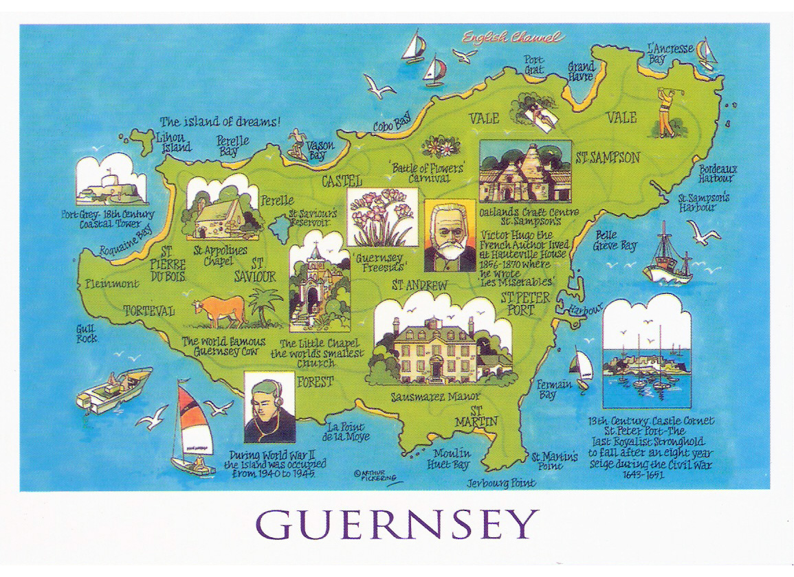Large tourist illustrated map of Guernsey Guernsey Europe