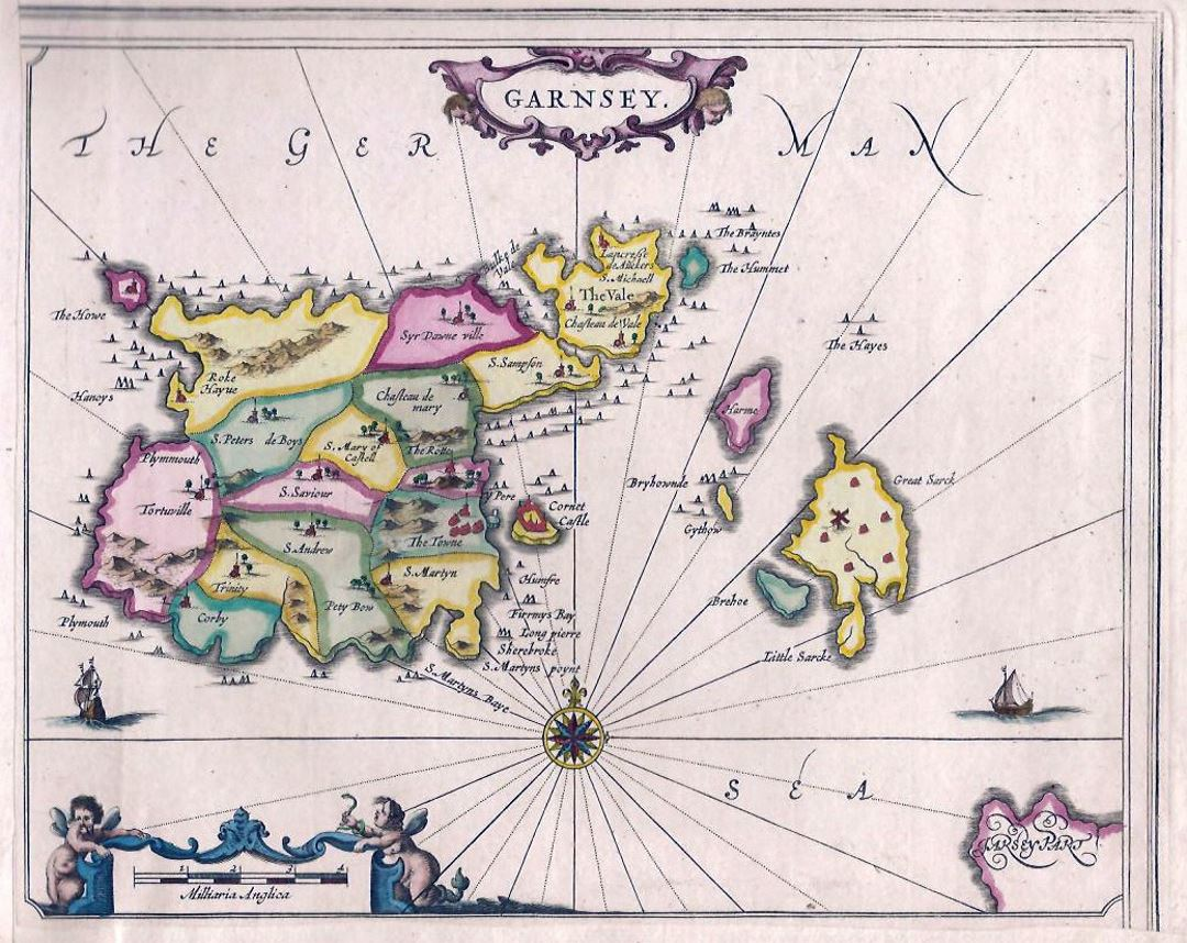 Old administrative map of Guernsey Guernsey Europe Mapsland