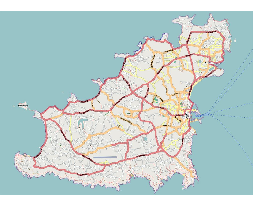 Road map of Guernsey
