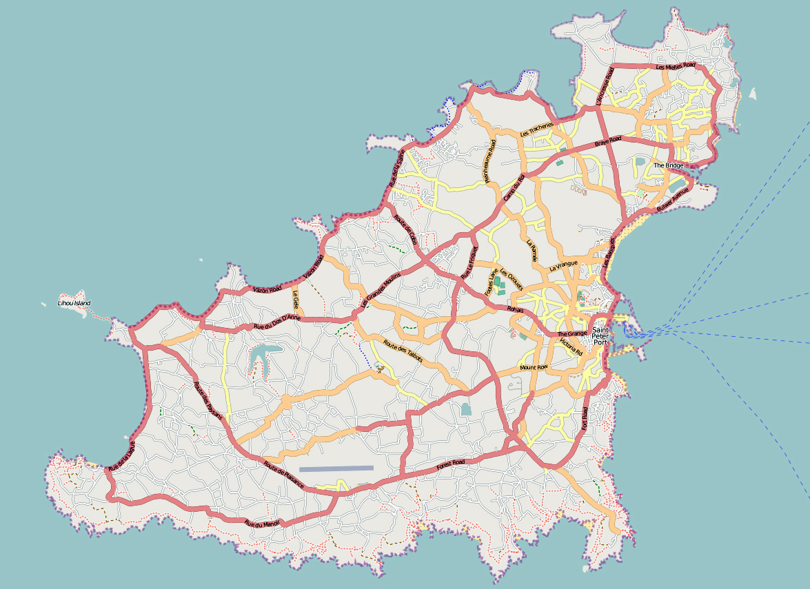 Map Of Guernsey Road map of Guernsey | Guernsey | Europe | Mapsland | Maps of the  Map Of Guernsey
