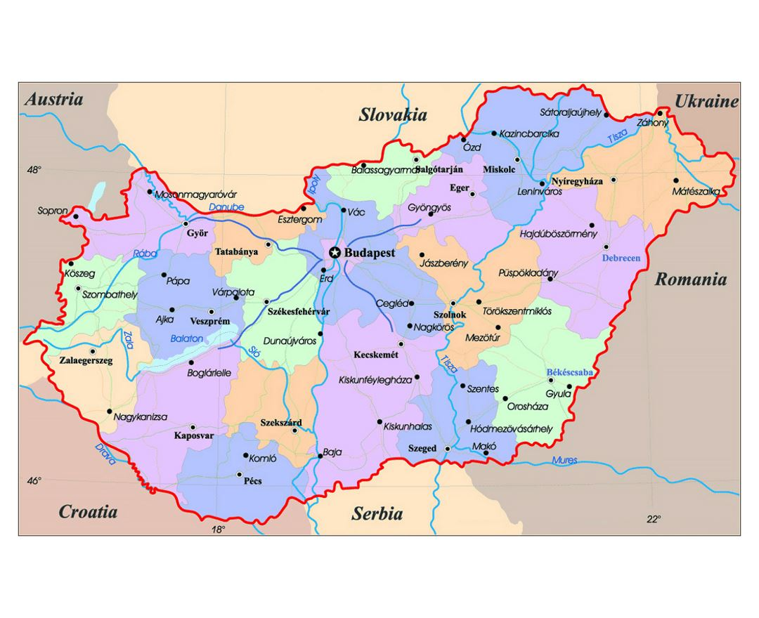 Maps of Hungary Detailed map of Hungary in English Tourist map