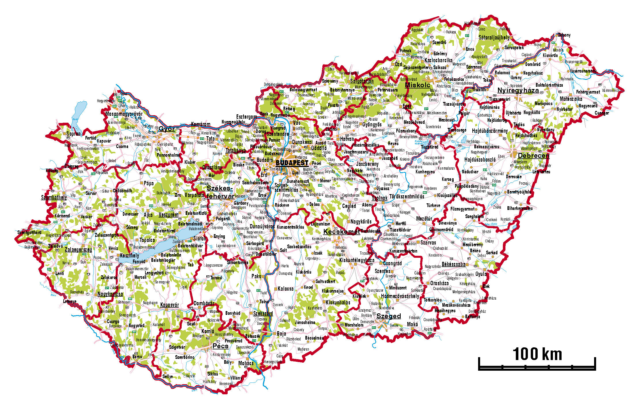 Large administrative map of Hungary with roads and cities Hungary