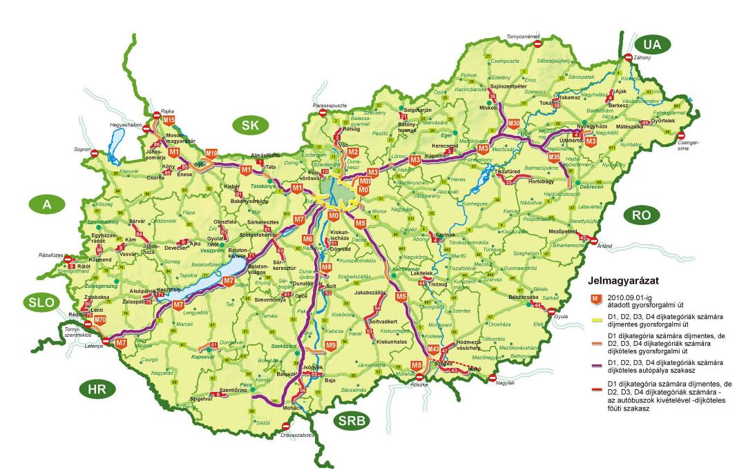 Large detailed highways map of Hungary