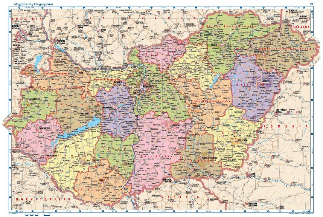Large detailed political and administrative map of Hungary with all cities, villages, roads, highways and airports