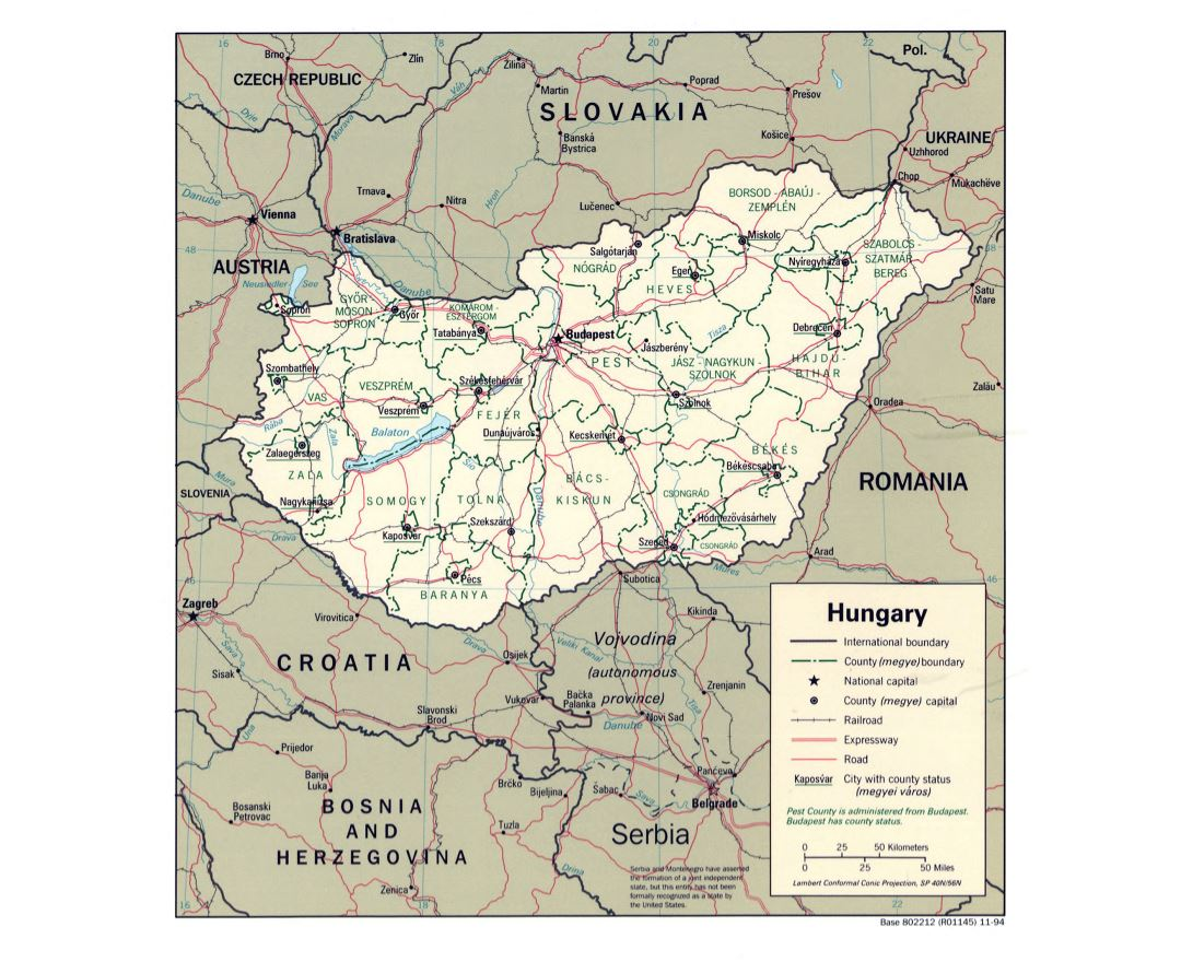 Hungary Political Map.Maps Of Hungary Collection Of Maps Of Hungary Europe Mapsland