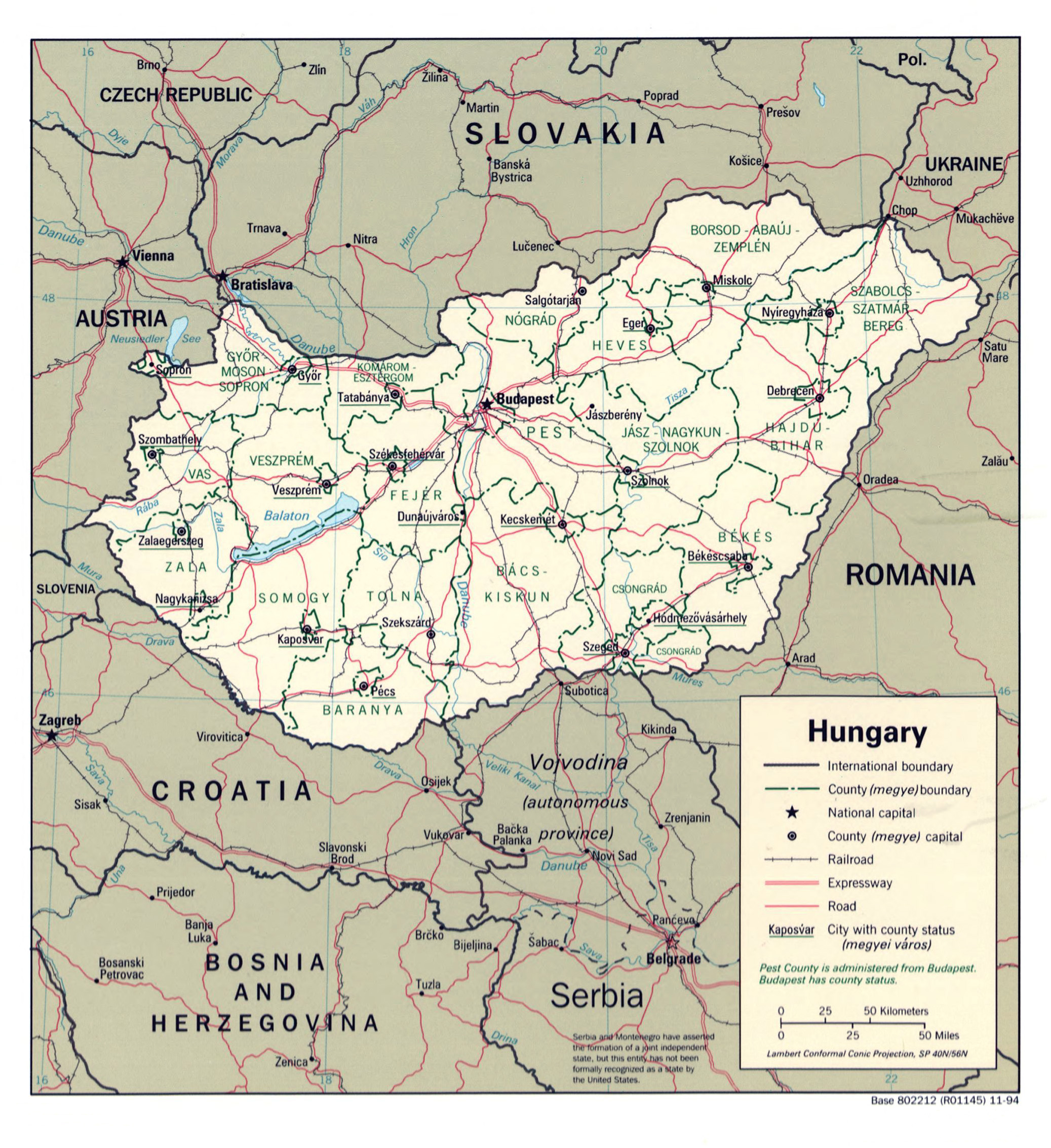 Large detailed political and administrative map of Hungary with