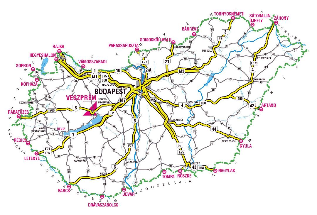 Large highways map of Hungary