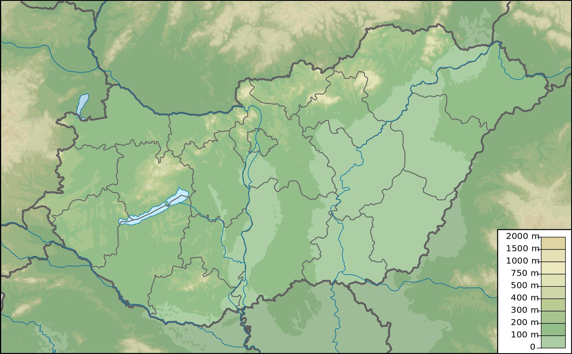 large physical map of hungary hungary europe mapsland maps