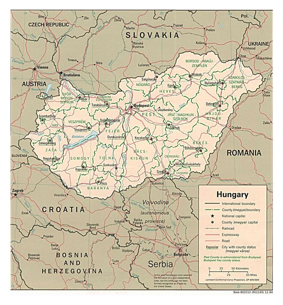 Large political and administrative map of Hungary with roads and major cities - 1994