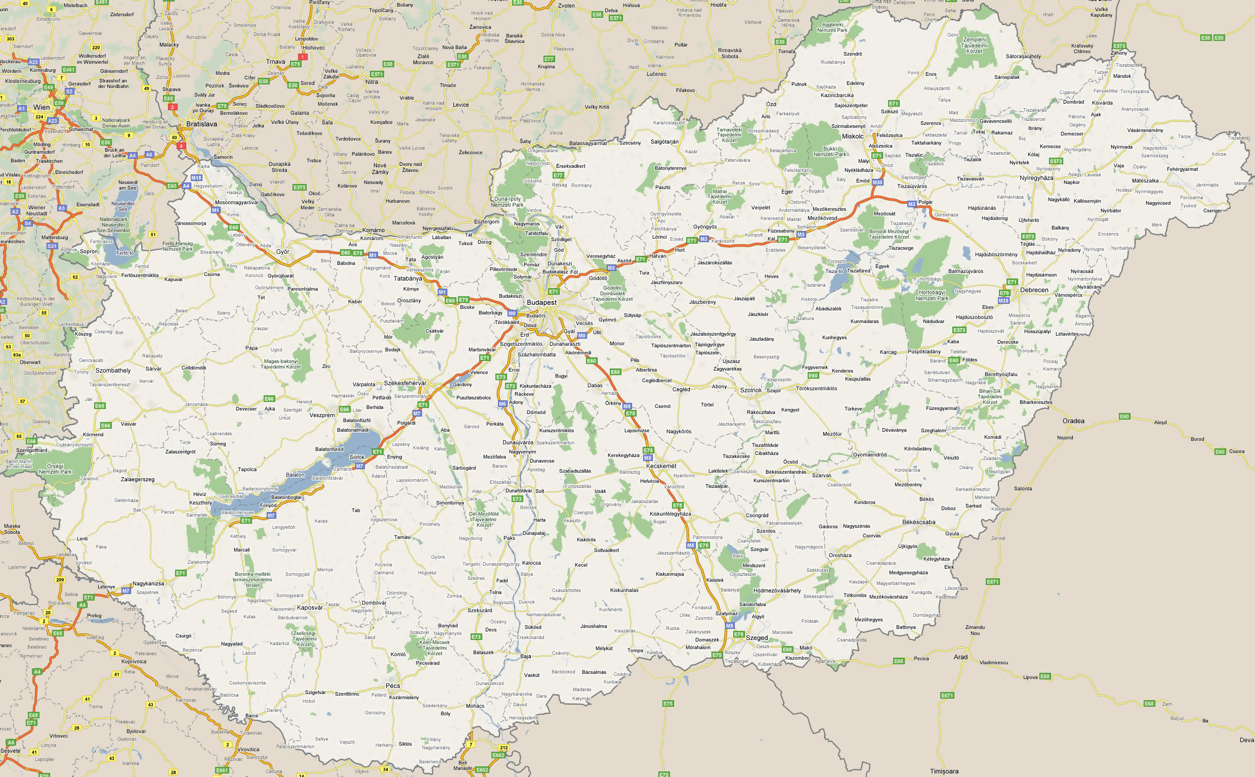 Large road map of Hungary with cities Hungary Europe Mapsland