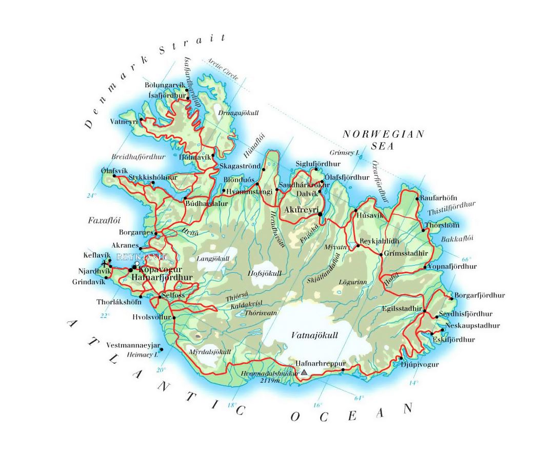 Maps of Iceland Detailed map of Iceland in English – Map Of Iceland Tourist Attractions