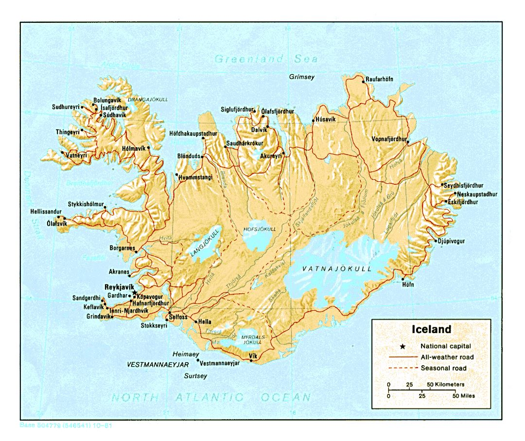 Detailed political map of Iceland with relief, roads and cities - 1981