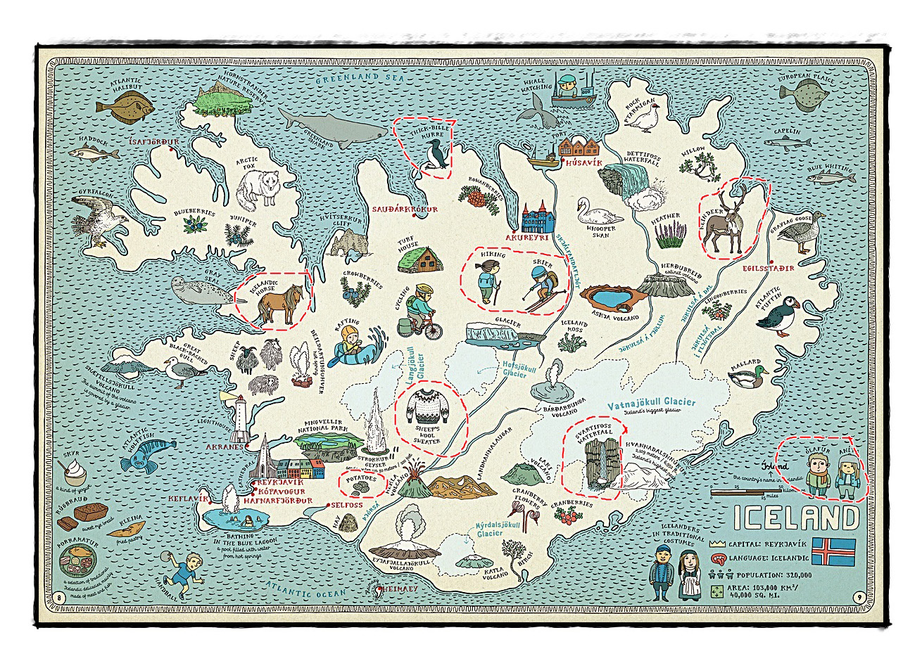 Detailed tourist illustrated map of Iceland Iceland – Iceland Tourist Map
