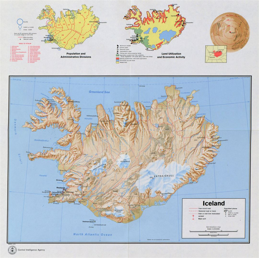 Large detailed country profile map of Iceland - 1973